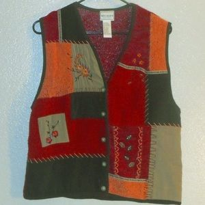 Napa Valley Fall themed embroidered vest